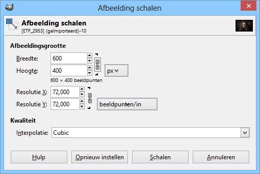 Screenshot afbeeldingen schalen in GIMP