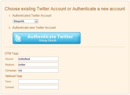 Twitterfeed instellingen